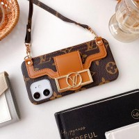 luxury iphone case with wallet and strap...